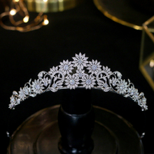 Asnora New European Wedding 3a Zircon Flower Hair Accessories Bride CZ Crown Hair with Electroplating Wedding Hair Accessories