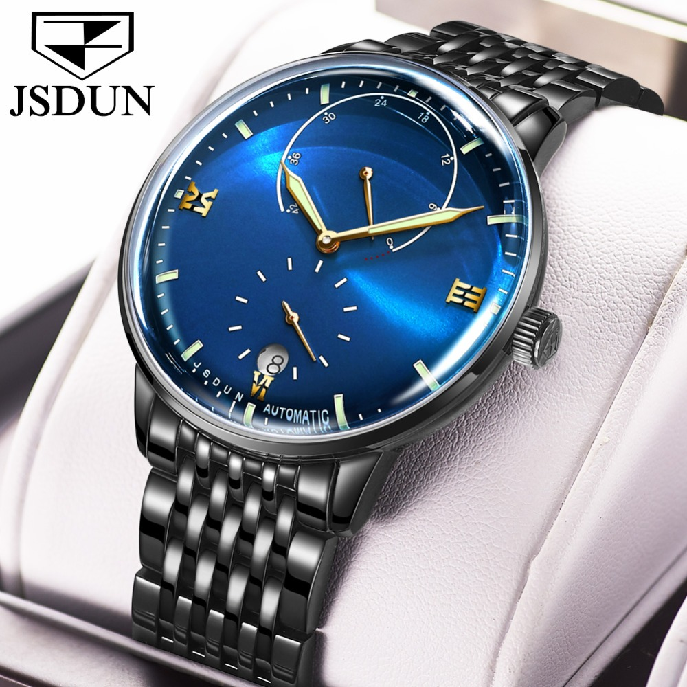 Business 3D Black Stainless Steel Mechanical Watches Men Swiss Complete Calendar Blue Automatic Watches For Man Clock Luminous
