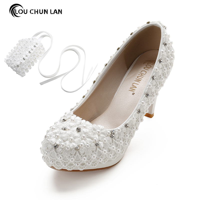 Women Shoes Pumps Lace Ankle Strap Wedding Shoes Lace Flower Bride Formal Dress Female Free Shipping Party Shoes large size41-48 free shipping candy color women garden shoes breathable women beach shoes hsa21