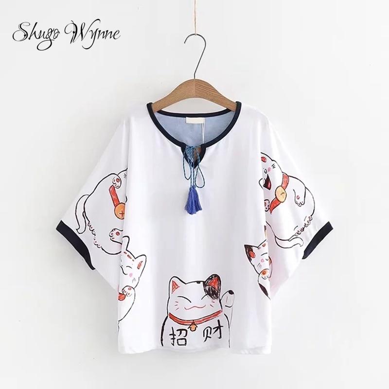 Shugo Wynne Sweet Tee 2019 Summer New Women Cute Lucky Cat Print O-neck Tassel Lace-up Cloak T-shirts Loose Casual T shirt Tops
