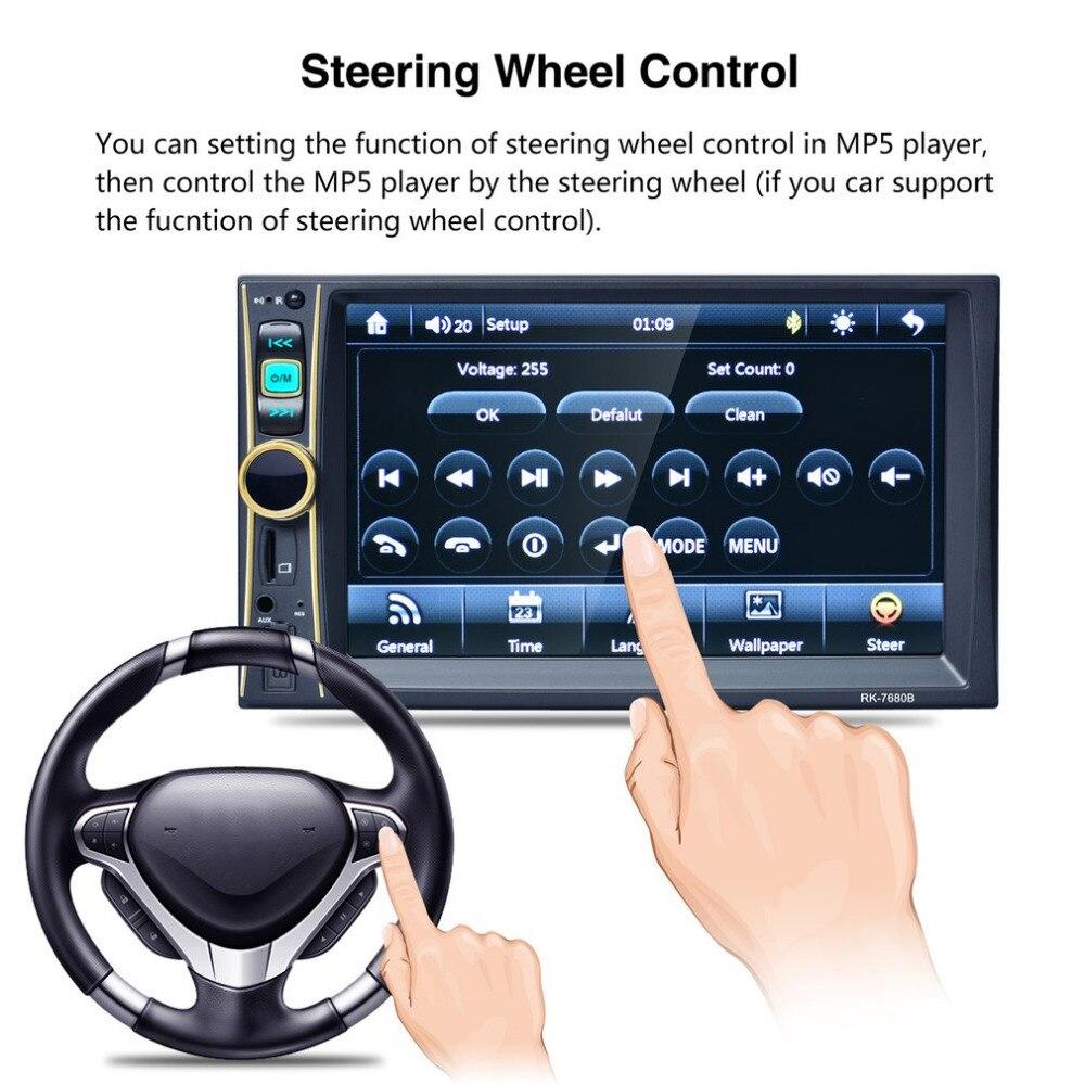 цена на 6.6inch Car Radio Player Stereo MP5 Car Audio Bluetooth USB Aux TF In-Dash FM Auto Radio With Rear View Camera Remote Control