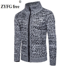 купить New 2018 style autumn winter men casual sweater men's keep warm fashion solid color zipper Lapel Sweater coat clothes EU size дешево