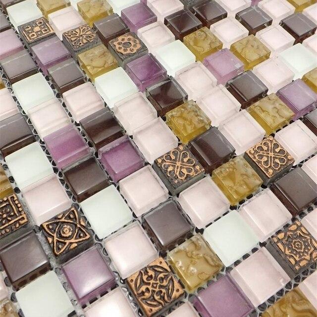 Heimwerker, Lila Kristall Glasmosaik Wand Fliesen Für Bad Dusche Boden Und  Wand Fliesen Küche Bar