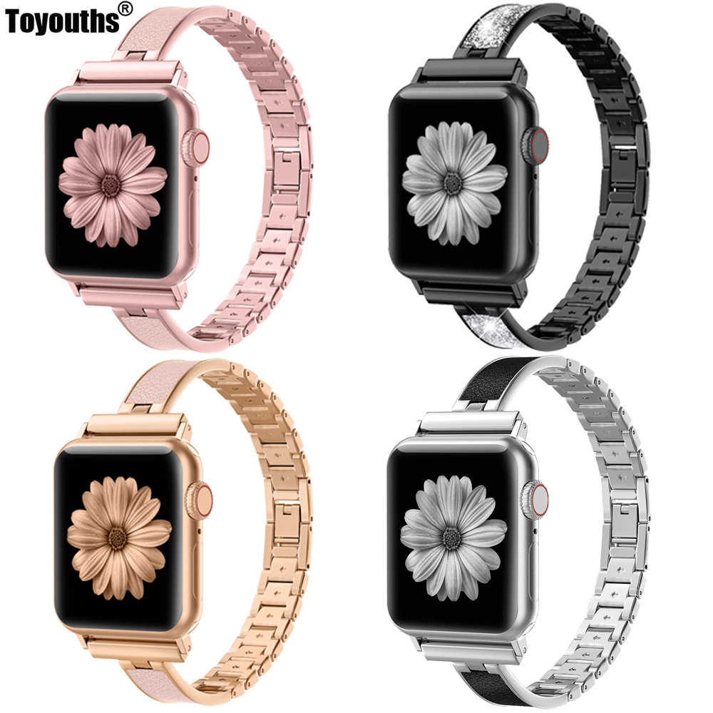 For Apple Watch Band 40mm 44mm Series 4 Slim Replacement Wristband Jewelry Women For iWatch Series 3 2 1 38mm 42mm