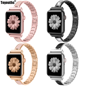 Image 1 - For Apple Watch Band 40mm 44mm Series 5 Slim Replacement Wristband Jewelry Women For iWatch Series 4 3 2 1 38mm 42mm