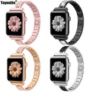Image 1 - Voor Apple Horloge Band 40Mm 44Mm Serie 5 Slim Vervanging Armband Sieraden Vrouwen Voor Iwatch Serie 4 3 2 1 38Mm 42Mm