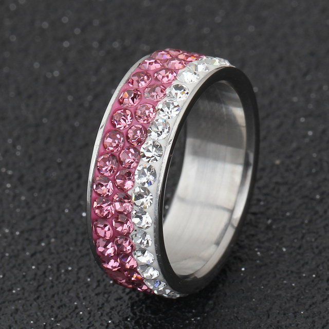 Christmas gift  Czech crystal rings for women and girl stainless steel ring accessories jewelry