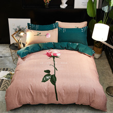 Bedding Set Version of the Flower 4 Piece Chinese Style Twill Quilt Cover Single Double Dormitory Bed Linen Cover Thickening Ki