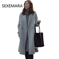 Women S Brand Winter Autumn Wool Jacket 2017 Casual Lady Slim Suit Collar Long Section Pure