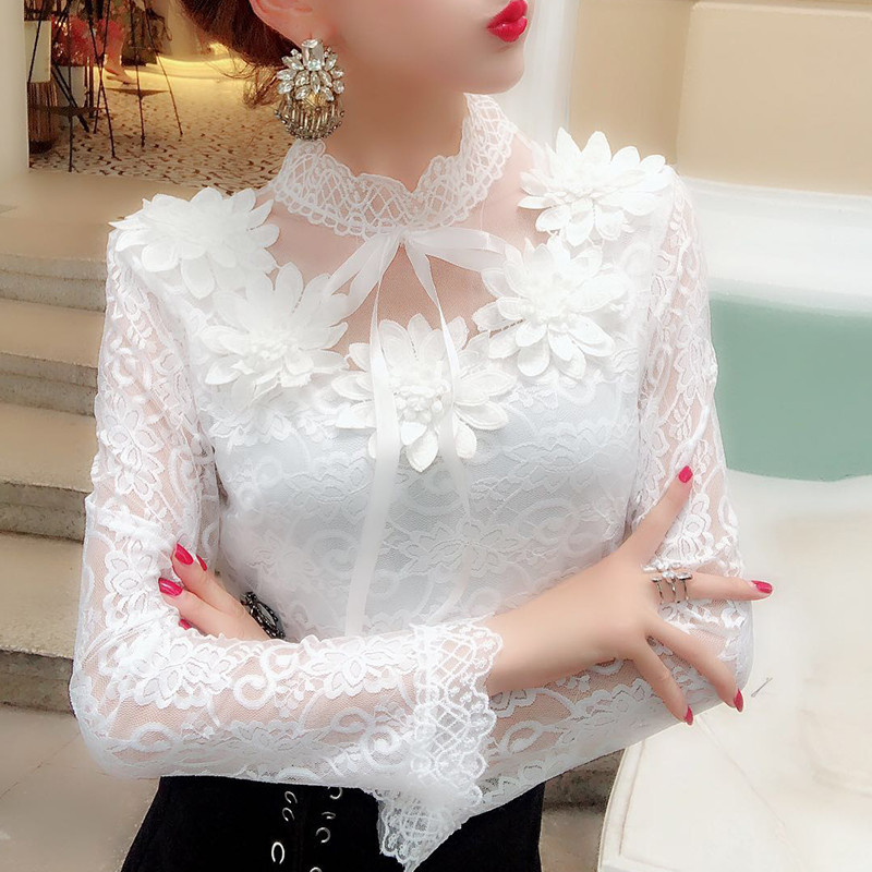 2018 Spring Autumn Women Long Sleeve Blouse Sweet Floral Hollow Lace Shirt Female Bow Mesh Blouses Short Bottoming Tops AB1138