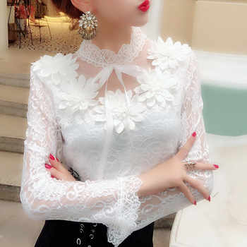 2018 Spring Autumn Women Long Sleeve Blouse Sweet Floral Hollow Lace Shirt Female Bow Mesh Blouses Short Bottoming Tops AB1138 - DISCOUNT ITEM  53% OFF All Category