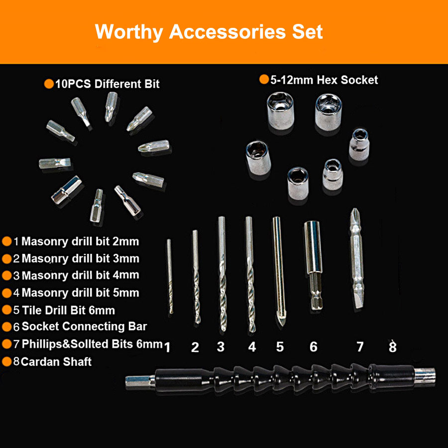 24PCS Worthy Drill Accessories Set For Eletric Drill Wrench With Drill Bits and Hex Socket Bits 20pcs m3 m12 screw thread metric plugs taps tap wrench die wrench set