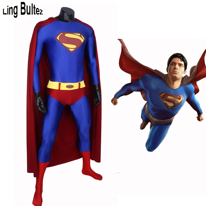 Ling Bultez Newest Superman Spandex Suit Superman Return Cosplay Costume Man Superman Costume With Cape
