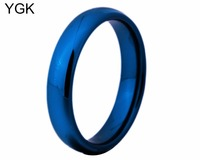 YGK Brand 4mm Width Blue Dome Tungsten Carbide Ring For Women And Men S Wedding