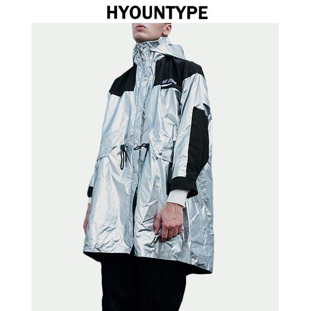Hip Hop Silver Windbreaker Trench Jackets Men Patchwork Drawstring Waist Hooded Sweatshirt Streetwear Autumn Long Outwear Jacket