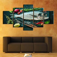 5 Panels fish Ingredients Wall Art Pictures Canvas Painting HD Prints and Posters for Living Room Home Decoration Giclee Artwork