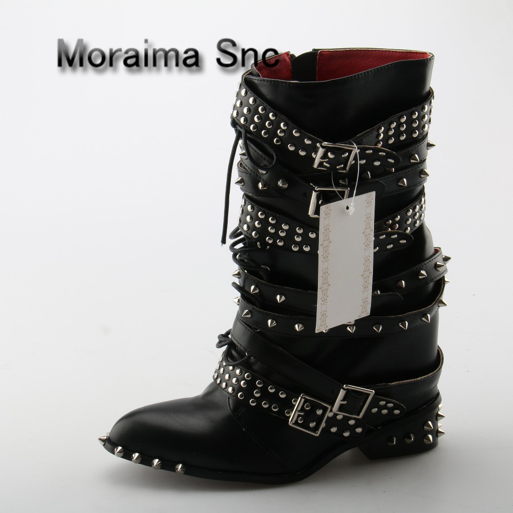 Moraima Snc Pointed Toe Black Color Side Zip Women Short Booties Brand Design Super Star Runway Shoes Stylish Rivets Heel Boots stylish zebra stripe and rivets design women s satchel page 6