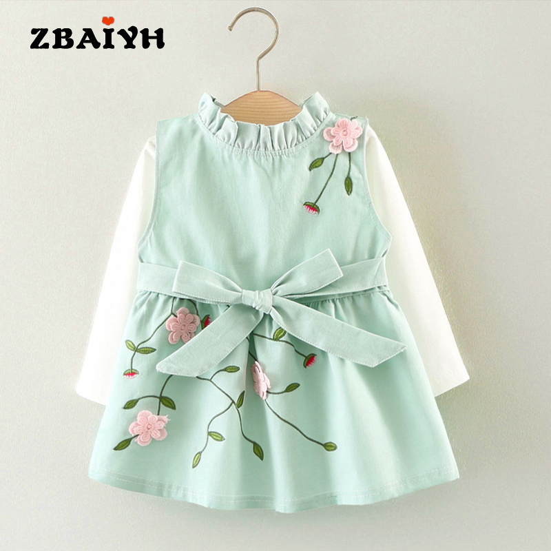 ZBAIYH Baby Girl Clothes kids Brand 2017 Autumn Baby Girls Dress Long Sleeve t-shirt +Cotton sleeveless Dress 2Pcs baby Clothing little maven kids brand clothes 2017 new autumn baby girls clothes cotton bird printing girl a line pocket dress d063