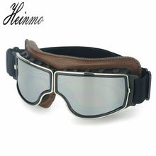 Brown Leather motocross pilot googles Aviator Cruiser Vintag