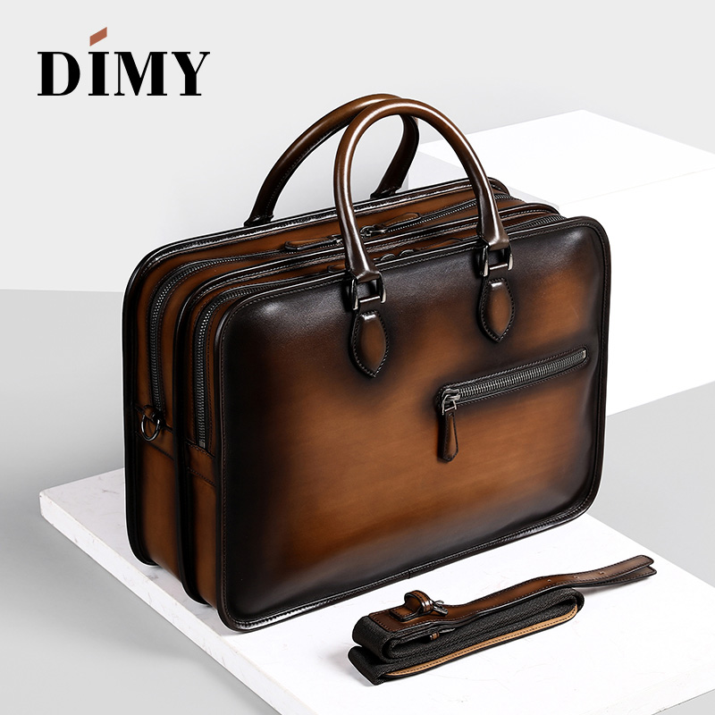 цена на Handmade Leather Briefcases For Men/ Attache 15 Inch Laptop Case/ Office Work Bags/ Double Zip Open Tote Shoulder Bag patina new