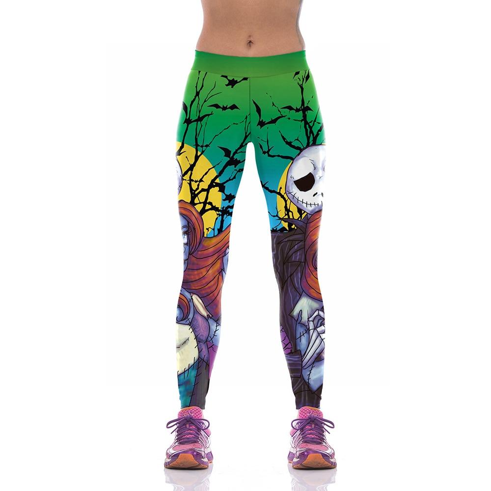 2017 New Arrival Halloween Series Skull Skeleton Print Womens Running Pants Green Fitness Jogging Gym Yoga Leggings
