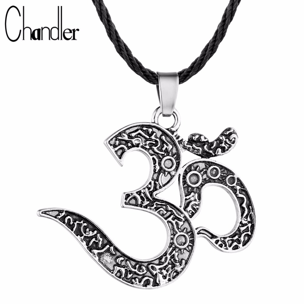 chandler om ohm pattern pendant necklace yoga jewelry