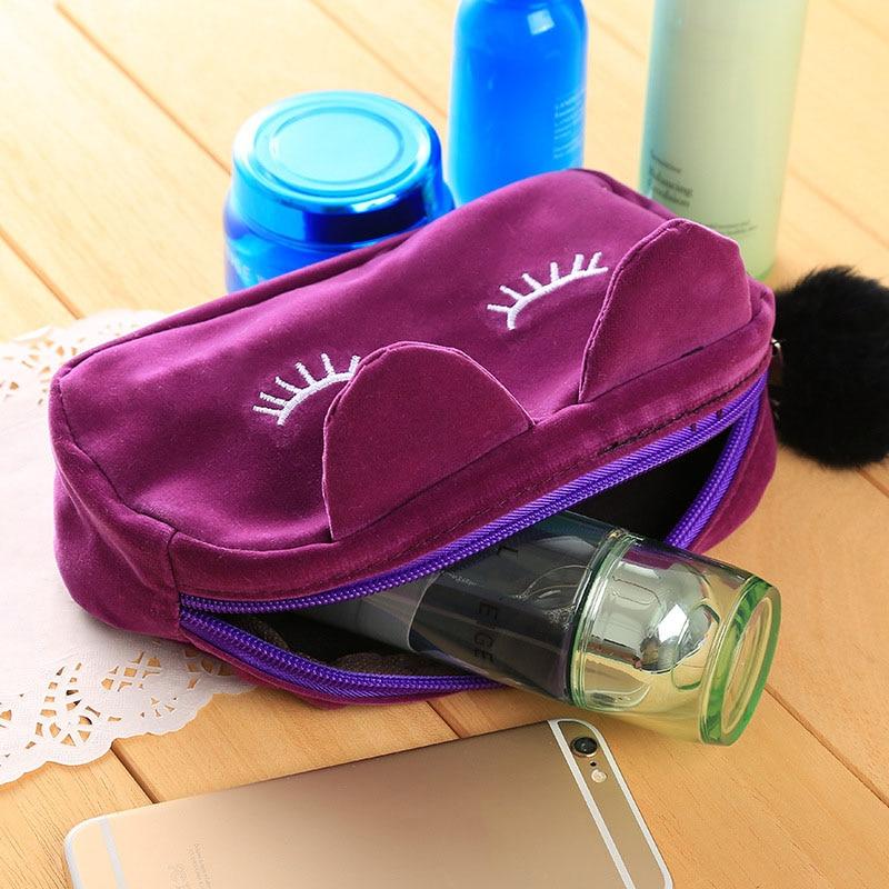 Women Cosmetic Bag Cartoon Cat Zipper Brush Organizer Toiletry Case Travel Makeup Bags For Lady H7JP