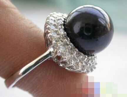 2129 Tahitian schwarze RUNDE PERLE montieren ring