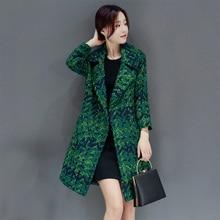 Женская Осенняя зимняя одежда шерстяное пальто женское зеленое клетчатое пальто