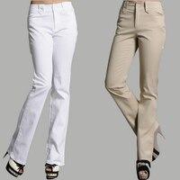 2016 new fashion Europa America casual mid-vita bell bottom cotone office lady OL donne chiarore pantaloni pantaloni 4XL