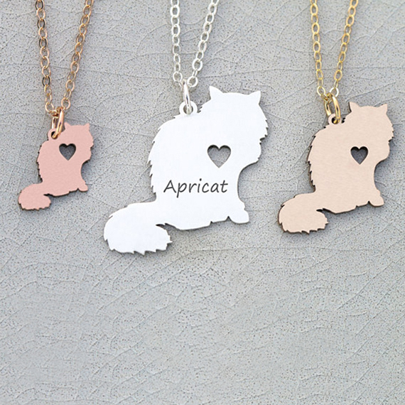 Latest Longhaired Cat Necklace Pet Cat Jewelry Personalized Names Or Letters Gift For Cat Lover YP6028