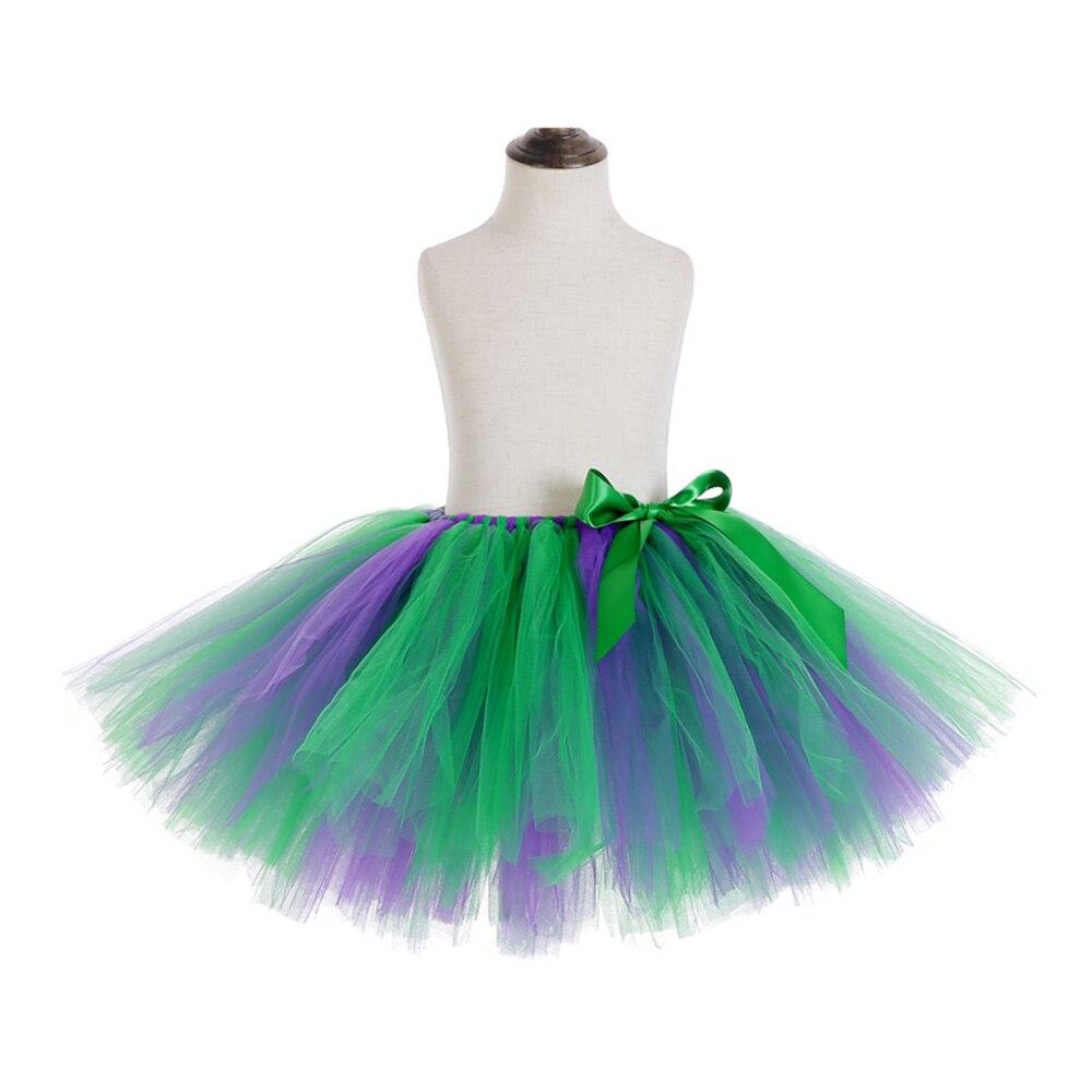 Rainbow Skirt Knee Length Nylon Mesh Tulle Skirt Kids Back to School Costume Happy Easter Party Tutu Skirt with Ribbon Bowknot (15)
