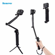 Mini Three sections Multi-function Selfie stick with Tripod Extendable Monopod for GoPro Hero 5 4 3 Sjcam Xiaoyi Action Cameras