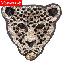 embroidery sequins leopard tiger patches for jackets,leopard badges jeans,appliques backpack A282