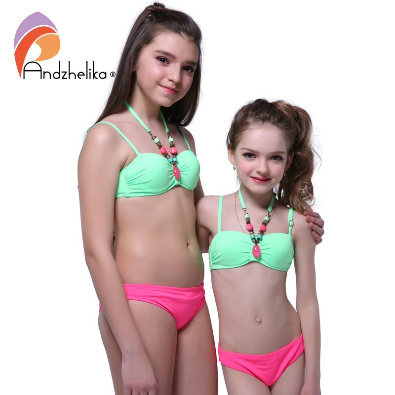 Andzhelika 2018 Summer Children's Swimwear Decoration Neck Girls Bikinis Set Push up Swimming Suit Kid Bathing Suit 317003