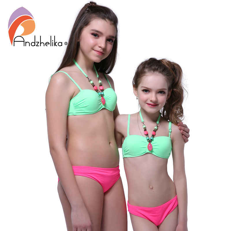 Andzhelika ropa de baño para niños, conjunto de Bikinis con cuello de decoración para niñas, traje de baño con Push up para chico 2018|suit up|suit kidssuit suit - AliExpress