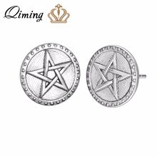 QIMING Big Star Earrings Women Female Boho Vintage Silver Ethnic Jewelry Arabic Turkey Gold Vikings Stud Earrings Gift(Hong Kong,China)