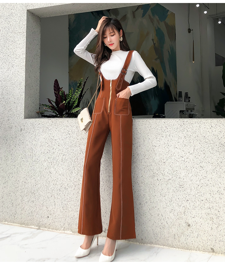 Pengpious winter new flare pants with zipper pockets and knit sweater long sleeves two pieces set fashion women 14