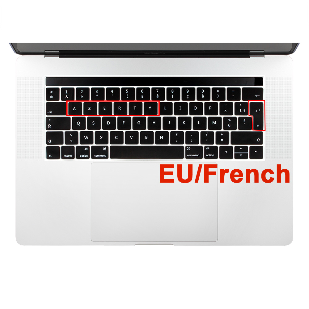 for Mac Book 12 Inch French Keyboard Cover Azerty 12 2016 12 French Franch Silicone Keyboard Cover Protector Skin-Silver