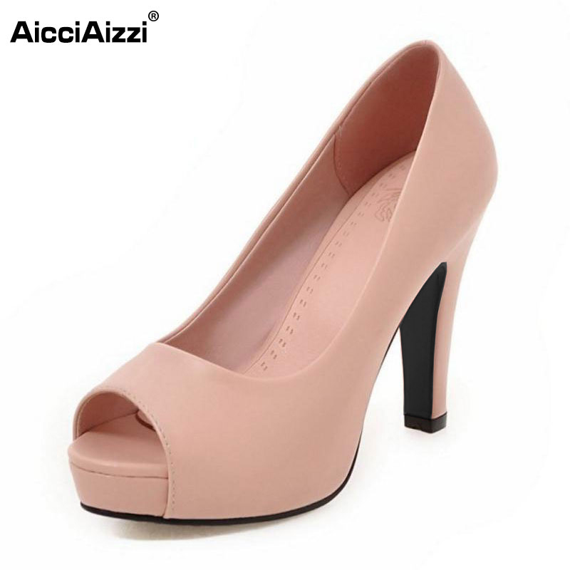 Women New High Heels Shoes Women Pumps Peep Toe Platform Thick Heels Sexy Office Ladies Dress Shoes Classics Footwear Size 32-45