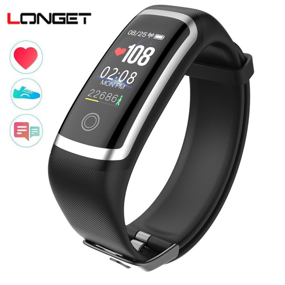 Longet M4 Fitness Tracker frecuencia cardíaca en tiempo real Monitor + sangre presión pulsera inteligente de pantalla a color pulsera para Android IOS
