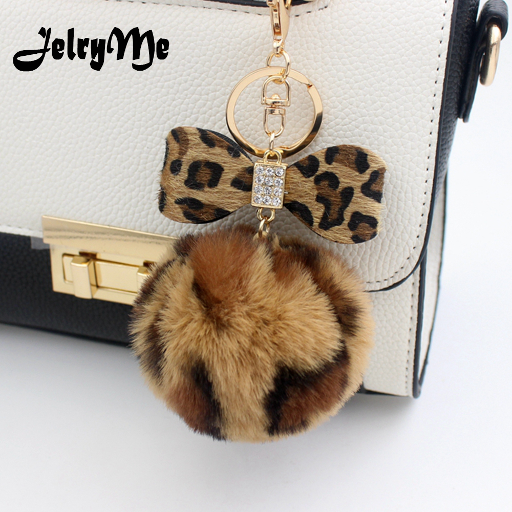 8CM Leopard Print Pompom Keychain Fluffy Faux Rabbit Fur Ball Women Handbag Pendants Car Key Ring Crystal Bow Key Chains Jewelry