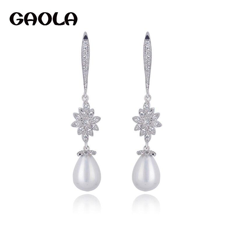 Fashion Accessories Vintage Jewelry Micro Inlay AAA Cubic Zirconia Wedding Dangle Pearl Earrings GLE4471