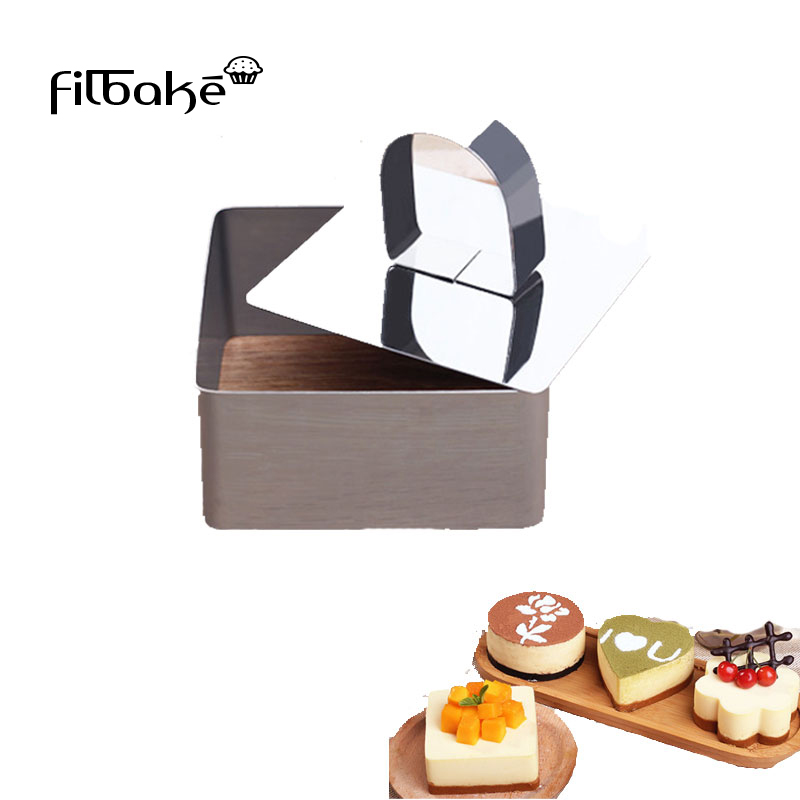 FILBAKE 5pcs Cake <font><b>Molds</b></font> Mousse Circle <font><b>Stainless</b></font> <font><b>Steel</b></font> Cake Tools <font><b>Cheese</b></font> Cake <font><b>Mold</b></font> Biscuits Cut <font><b>Mold</b></font> Square Heart Baking Tools image