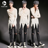 HZIJUE 2017 Men Punk Gothic Style Tees Shirts Asymmetric Splice Male Fashion Slim Fit Long Sleeve T shirt Stage Clothing