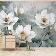 Papel tapiz beibehang 3d personalizado mural retro simple 3d en relieve flores TV papeles de pared de fondo decoración del hogar papel de pared