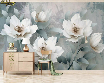 beibehang Custom 3d wallpaper mural retro simple 3d embossed flowers TV background wall papers home decor papel de parede