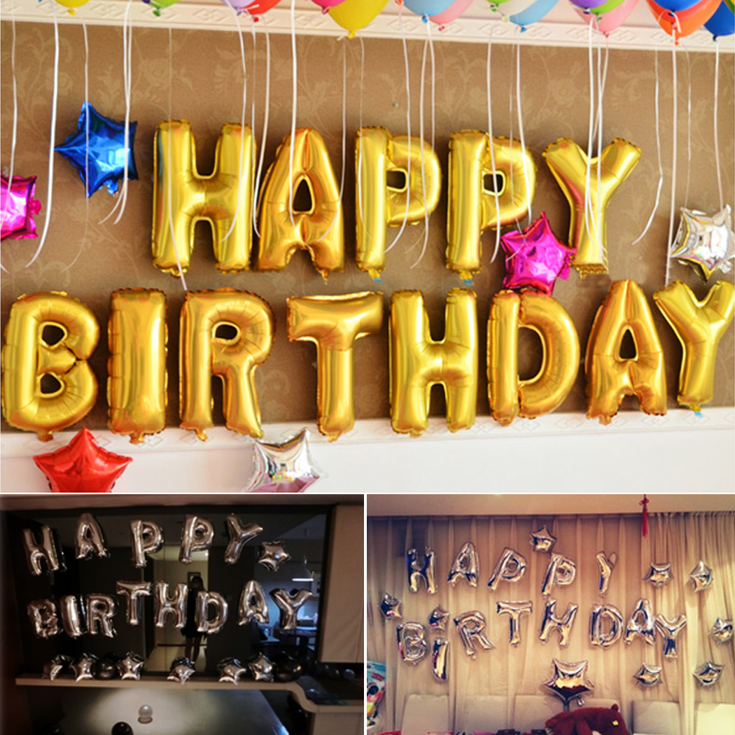 1 Set 13 letters Foil Balloons Silver Gold Happy Birthday Balloons ...