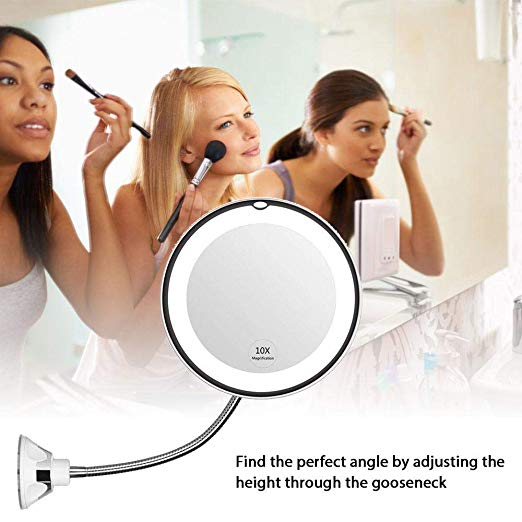 LED Mirror Makeup Mirror Vanity Mirror 10 Times Magnifying Glass With LED Lights Wall-mounted Bathroom Mirror Night Light