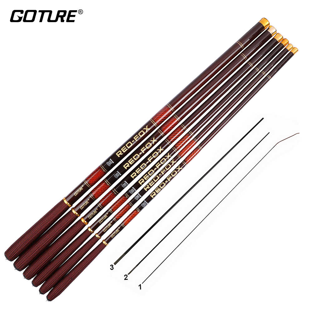 Goture Merah-Fox Ultra Ringan Carbon Fiber Stream Fishing Rod 3.0M 3.6M 4.5M 5.4M 6.3M 7.2 M Teleskopik Carp Fishing Rod Tangan Tiang